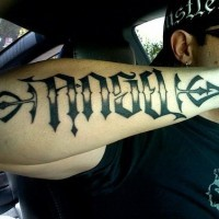 Ambigram tattoo on hand picture