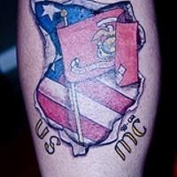 Usmc flags in skin rip tattoo