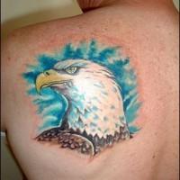 Pride american eagle tattoo on back