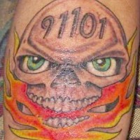 9 11 flaming skull tattoo
