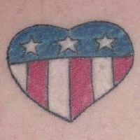American flag in heart tattoo