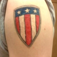 American flag on shield tattoo