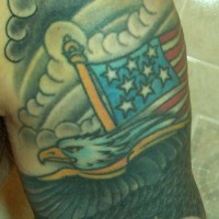Usa flag and eagle in slouds tattoo