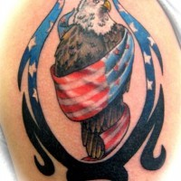 Eagle wrapped in usa flag tribal tattoo