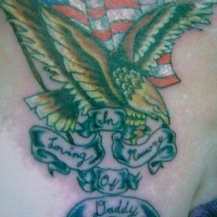 Usa flag with golden eagle tattoo