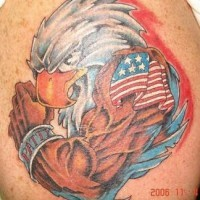 Patriotic humanized american eagle tattoo