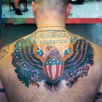 Super patriotic american eagle tattoo on back