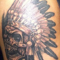 Skull in indian chief feather crown
