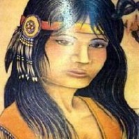 Realistic native american girl tattoo
