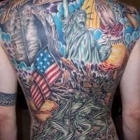 American patriotic theme full back tattoo