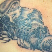 American soldier with rifle  tattoo