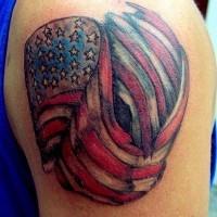 Coloured american flag tattoo