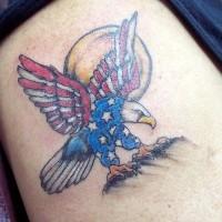 Sun and usa flag eagle tattoo