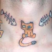 Crippled kitty with fish bones on neck