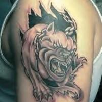 Busting out bulldog black tattoo