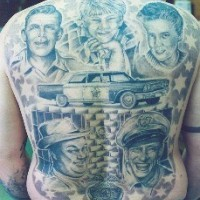 Andy griffith full back tattoo