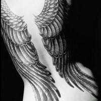 Tatuaggio su tutta schiena le ali di angelo