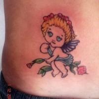 Piccolo angioletto colorato tatuato