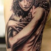 Half angel half demon girl tattoo