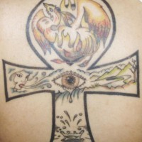 Ankh with phoenix and eye tattoo
