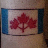 First Canadian flag ankle tattoo