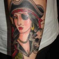 Pirate woman arm tattoo