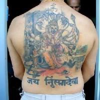 Large hindu artwork on back in colour