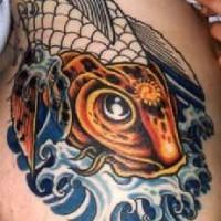 Le tatouage incomplet de carpe coï mystique doré