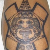 Primitive aztec sun stone tattoo