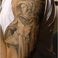 Aztec warrior with feathers tattoo on hand