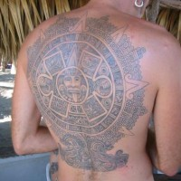 Piedra del sol large tattoo on back