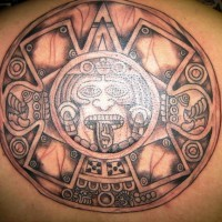 Aztec sun stone tattoo