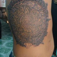 Large aztec calendar stone tattoo