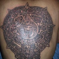 Piedra del sol large aztec tattoo on back