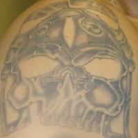Primitive aztec skull tattoo
