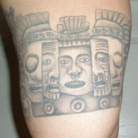 Aztec style art tattoo