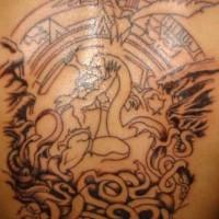 Mayan snake figh tattoo