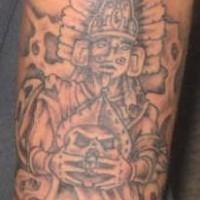 Aztec shaman making sacrifice tattoo