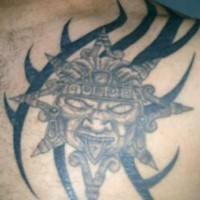 Aztec evil deity tattoo