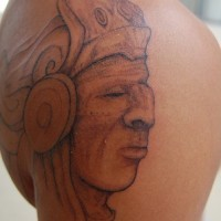 Aztec chief profile coloured tattoo