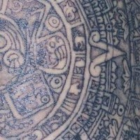 Mayan calendar tattoo close view