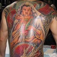 Hindu deity tattoo on whole back