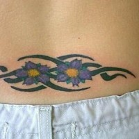 Daisy flowers tribal tattoo