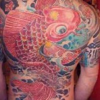 Large koi fish colourful tattoo