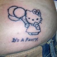 Hello kitty backside tattoo