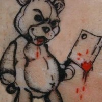 Evil teddy black bear tattoo