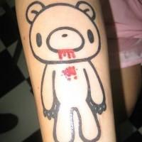 minimalistico orsetto con sangue tatuaggio
