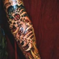 biometrica ossa e mech tatuaggio sul braccio