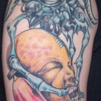 Biomech alien with one eye tattoo