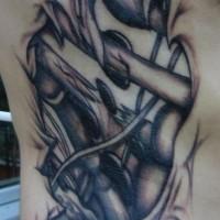 meccanismo sotto la pelle tatuaggio nero